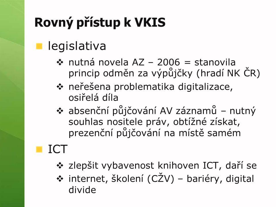 Rovný přístup k VKIS legislativa  nutná novela AZ – 2006 = stanovila princip odměn za výpůjčky (hradí NK ČR)  neřešena problematika digitalizace, osiřelá díla  absenční půjčování AV záznamů – nutný souhlas nositele práv, obtížné získat, prezenční půjčování na místě samém ICT  zlepšit vybavenost knihoven ICT, daří se  internet, školení (CŽV) – bariéry, digital divide