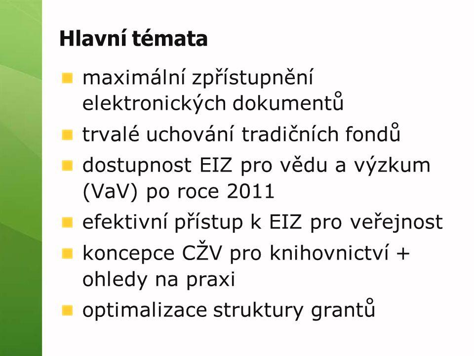 Hlavní témata maximální zpřístupnění elektronických dokumentů trvalé uchování tradičních fondů dostupnost EIZ pro vědu a výzkum (VaV) po roce 2011 efektivní přístup k EIZ pro veřejnost koncepce CŽV pro knihovnictví + ohledy na praxi optimalizace struktury grantů