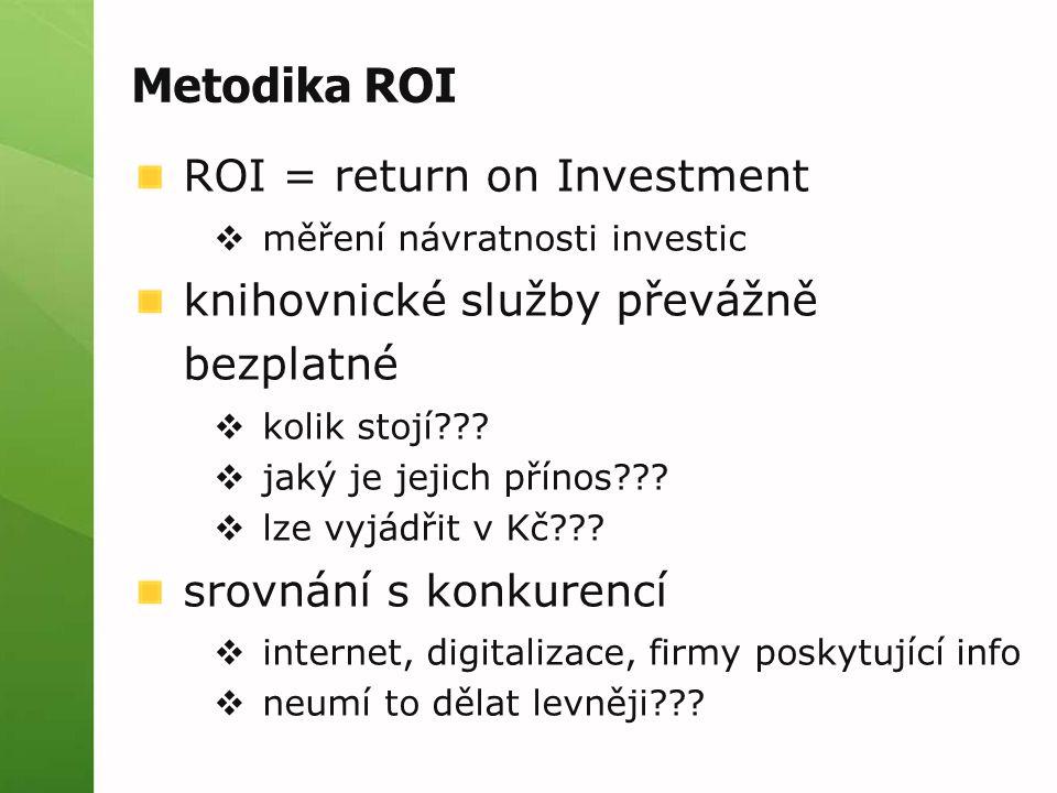 Metodika ROI ROI = return on Investment  měření návratnosti investic knihovnické služby převážně bezplatné  kolik stojí .