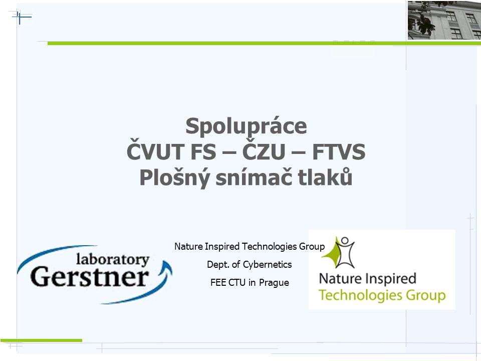 Nature Inspired Technologies G r o u p Plošný snímač tlaků  Snímání tlaku na ploše 30x40cm (100x76 snímacích bodů), 300 snímků/s  Určeno pro výzkumné účely – rehabilitace, odrazy (míč, skok), otisky (židle, sedačky), …  Analýza dat – rozložení tlaku, těžiště, stabilita, zpětnovazební stimulace, …  Otisk / klenba nohy => detekce různé poruchy držení těla / chůze (DB příklady – diagnostika)  Rehabilitace – grafická stimulace cílového otisku => napodobování pacientem; stabilometrie