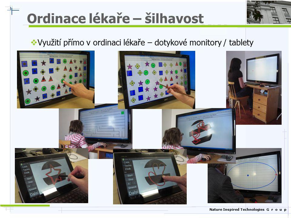 Nature Inspired Technologies G r o u p Cvičení kognitivních schopností  Úlohy rozděleny do skupin podle typu  Krátkodobá paměť (rozšiřující se posloupnost čísel / písmen)  Rozpoznávání různých obrazců (tvary, symboly)  Hry na myšlení (sodoku, Hanojské věže, patnácka)  Příklady všeobecného života (stanovení hodin)