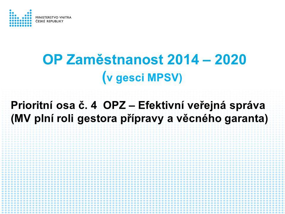 OP Zaměstnanost 2014 – 2020 ( v gesci MPSV) Prioritní osa č.