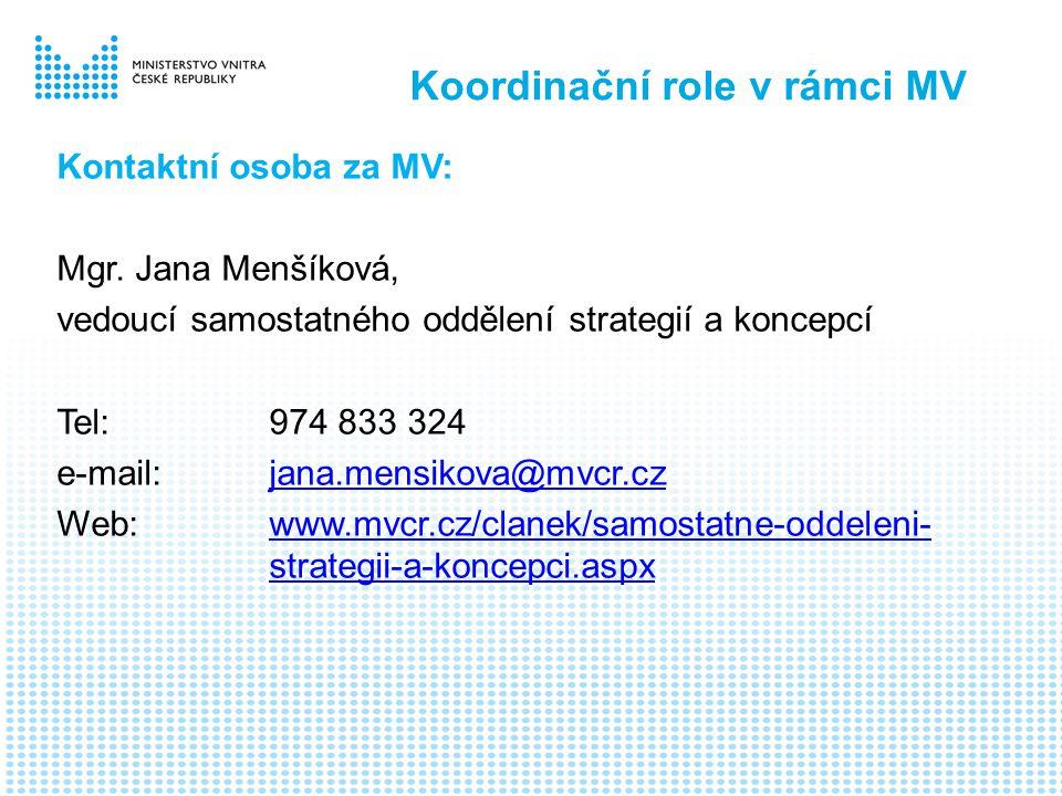 Koordinační role v rámci MV Kontaktní osoba za MV: Mgr.