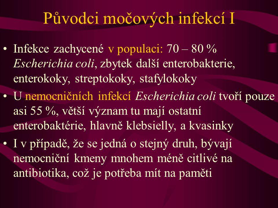 Původci močových infekcí I Infekce zachycené v populaci: 70 – 80 % Escherichia coli, zbytek další enterobakterie, enterokoky, streptokoky, stafylokoky