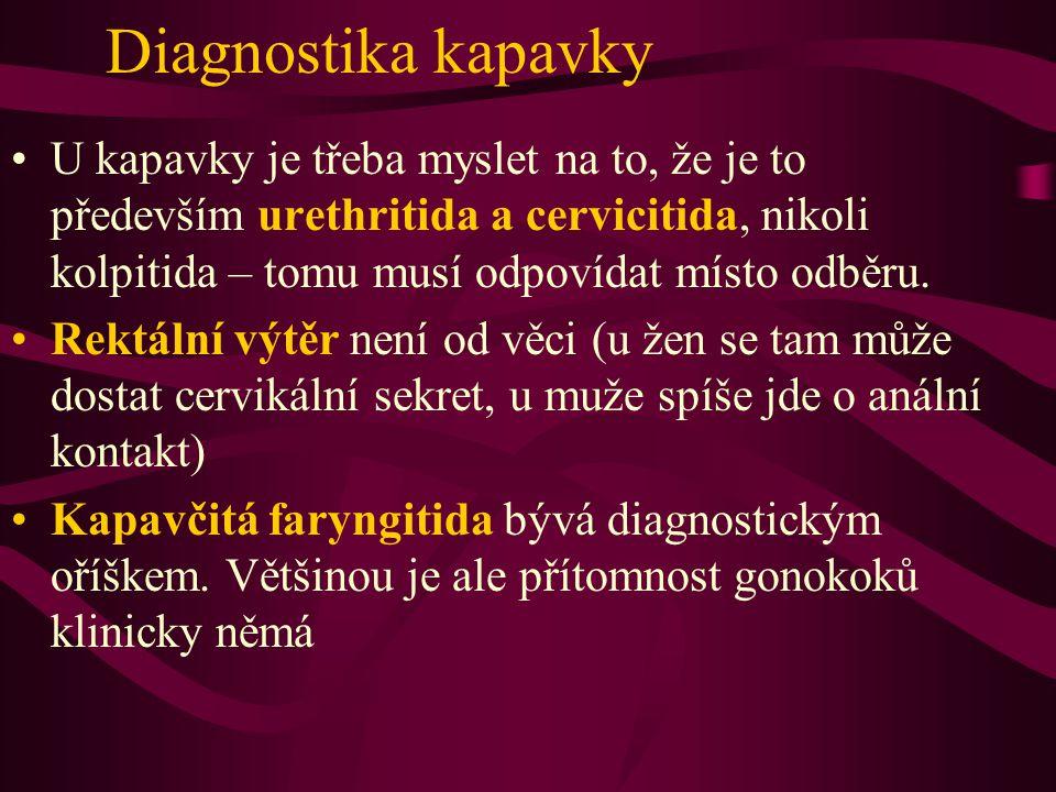 Diagnostika kapavky U kapavky je třeba myslet na to, že je to především urethritida a cervicitida, nikoli kolpitida – tomu musí odpovídat místo odběru