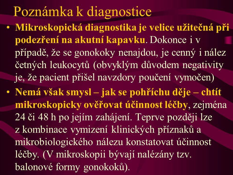 Poznámka k diagnostice Mikroskopická diagnostika je velice užitečná při podezření na akutní kapavku. Dokonce i v případě, že se gonokoky nenajdou, je