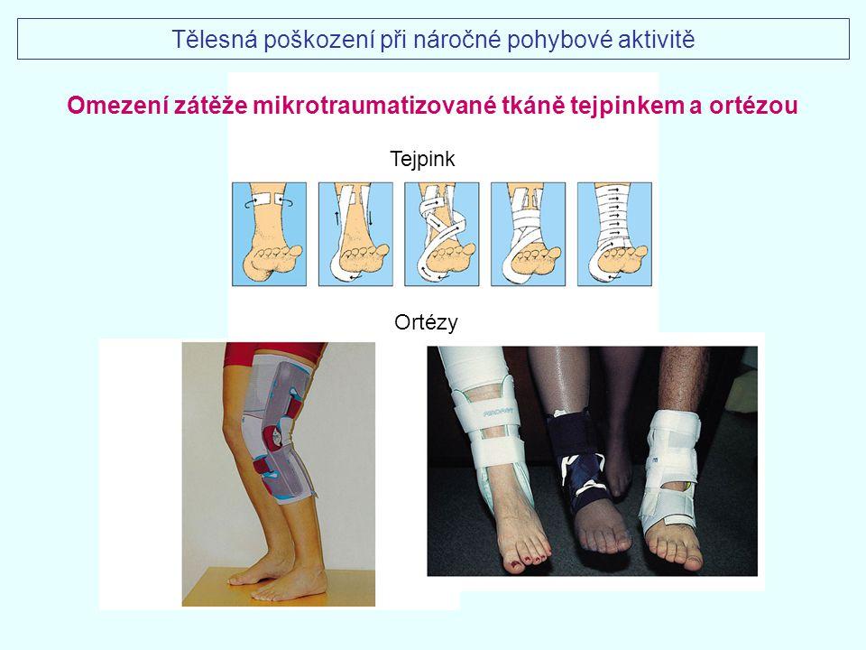 Ortézy Tejpink Omezení zátěže mikrotraumatizované tkáně tejpinkem a ortézou Tělesná poškození při náročné pohybové aktivitě