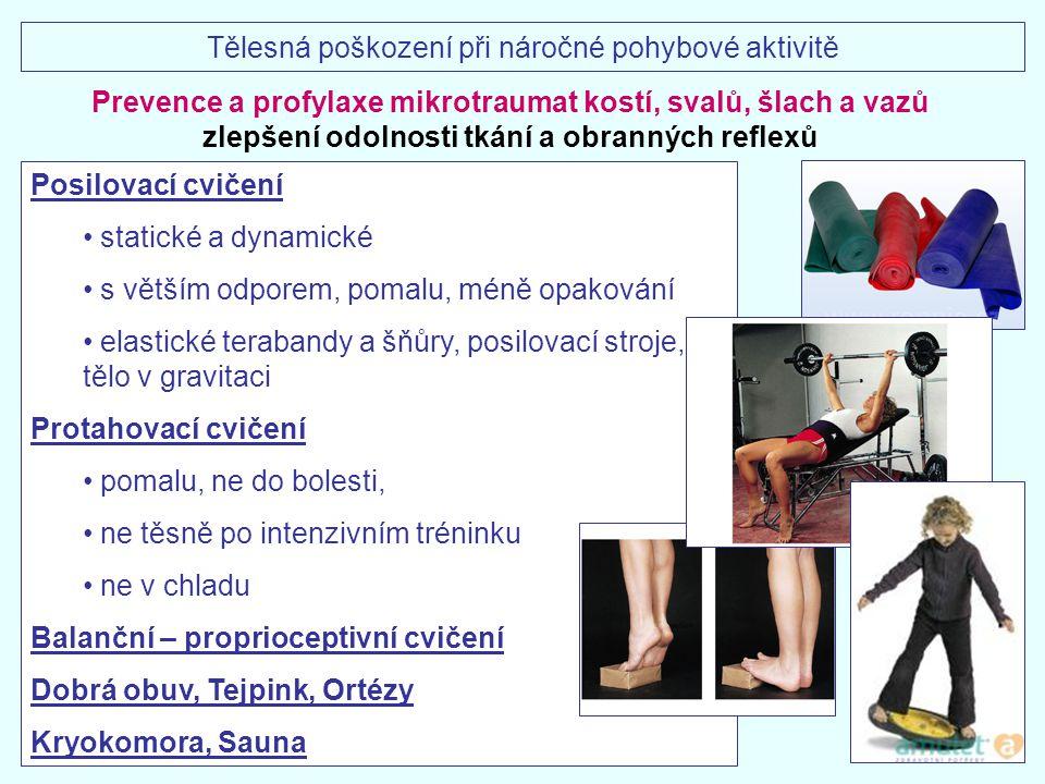 Prevence a profylaxe mikrotraumat kostí, svalů, šlach a vazů zlepšení odolnosti tkání a obranných reflexů Posilovací cvičení statické a dynamické s vě