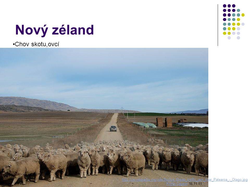 Nový zéland Chov skotu,ovcí http://cs.wikipedia.org/wiki/Soubor:Sheep_traffic_jam_near_Patearoa_-_Otago.jpg Phillip CapperPhillip Capper 16.11.11
