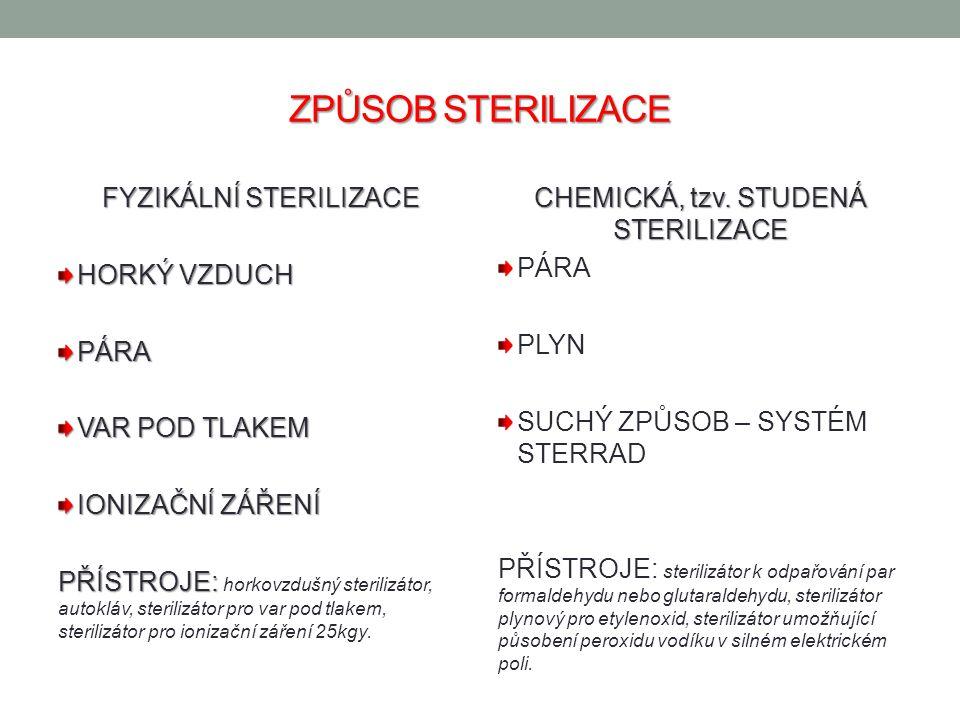 ZPŮSOB STERILIZACE FYZIKÁLNÍ STERILIZACE HORKÝ VZDUCH PÁRA VAR POD TLAKEM IONIZAČNÍ ZÁŘENÍ PŘÍSTROJE: PŘÍSTROJE: horkovzdušný sterilizátor, autokláv, sterilizátor pro var pod tlakem, sterilizátor pro ionizační záření 25kgy.