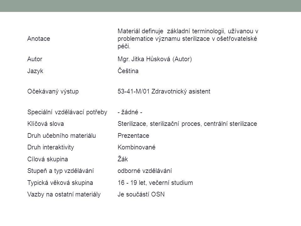Anotace Materiál definuje základní terminologii, užívanou v problematice významu sterilizace v ošetřovatelské péči. AutorMgr. Jitka Hůsková (Autor) Ja