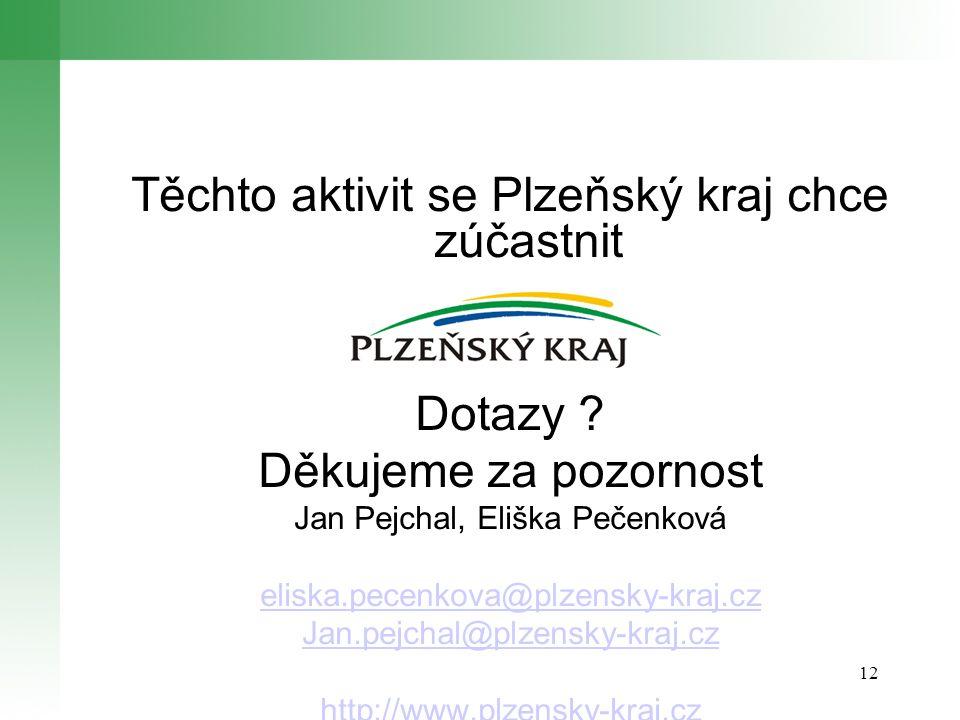 12 Těchto aktivit se Plzeňský kraj chce zúčastnit Dotazy .