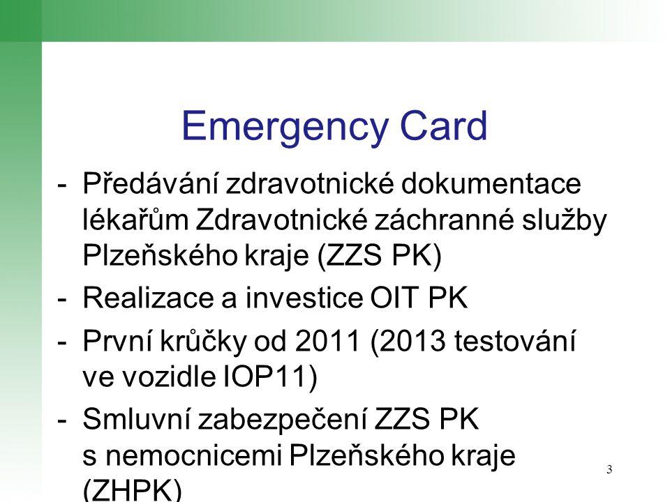 Emergency Card -Předávání zdravotnické dokumentace lékařům Zdravotnické záchranné služby Plzeňského kraje (ZZS PK) -Realizace a investice OIT PK -První krůčky od 2011 (2013 testování ve vozidle IOP11) -Smluvní zabezpečení ZZS PK s nemocnicemi Plzeňského kraje (ZHPK) 3