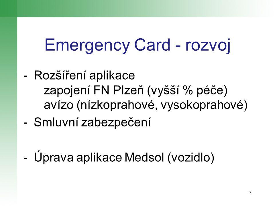Emergency Card - rozvoj -Rozšíření aplikace zapojení FN Plzeň (vyšší % péče) avízo (nízkoprahové, vysokoprahové) -Smluvní zabezpečení -Úprava aplikace Medsol (vozidlo) 5