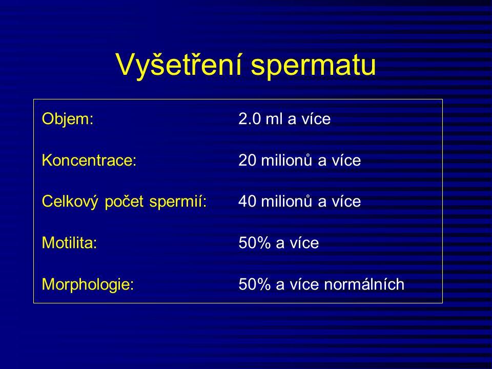 Vyšetření spermatu Objem:2.0 ml a více Koncentrace: 20 milionů a více Celkový počet spermií:40 milionů a více Motilita:50% a více Morphologie: 50% a v