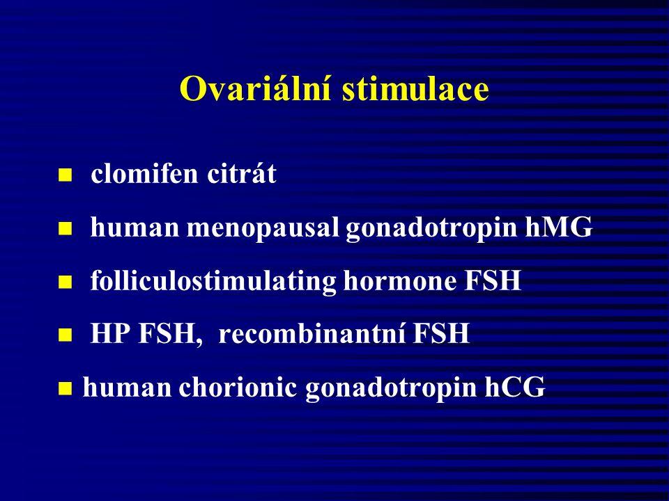 Ovariální stimulace clomifen citrát n human menopausal gonadotropin hMG n folliculostimulating hormone FSH n HP FSH, recombinantní FSH n human chorion