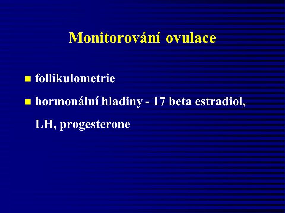 Monitorování ovulace n follikulometrie n hormonální hladiny - 17 beta estradiol, LH, progesterone