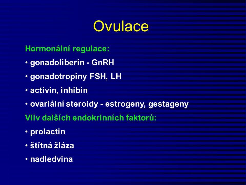 Ovulace Hormonální regulace: gonadoliberin - GnRH gonadotropiny FSH, LH activin, inhibin ovariální steroidy - estrogeny, gestageny Vliv dalších endokr