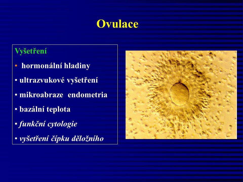 Ovulace Vyšetření hormonální hladiny ultrazvukové vyšetření mikroabraze endometria bazální teplota funkční cytologie vyšetření čípku děložního