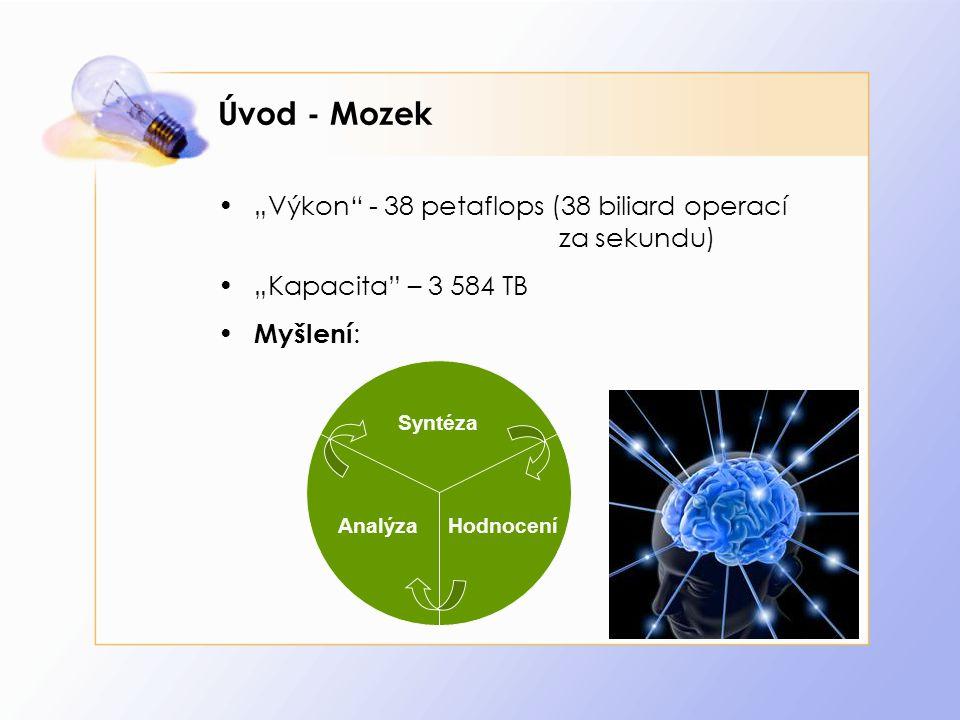 """Úvod - Mozek """"Výkon"""" - 38 petaflops (38 biliard operací za sekundu) """"Kapacita"""" – 3 584 TB Myšlení : Analýza Syntéza Hodnocení"""