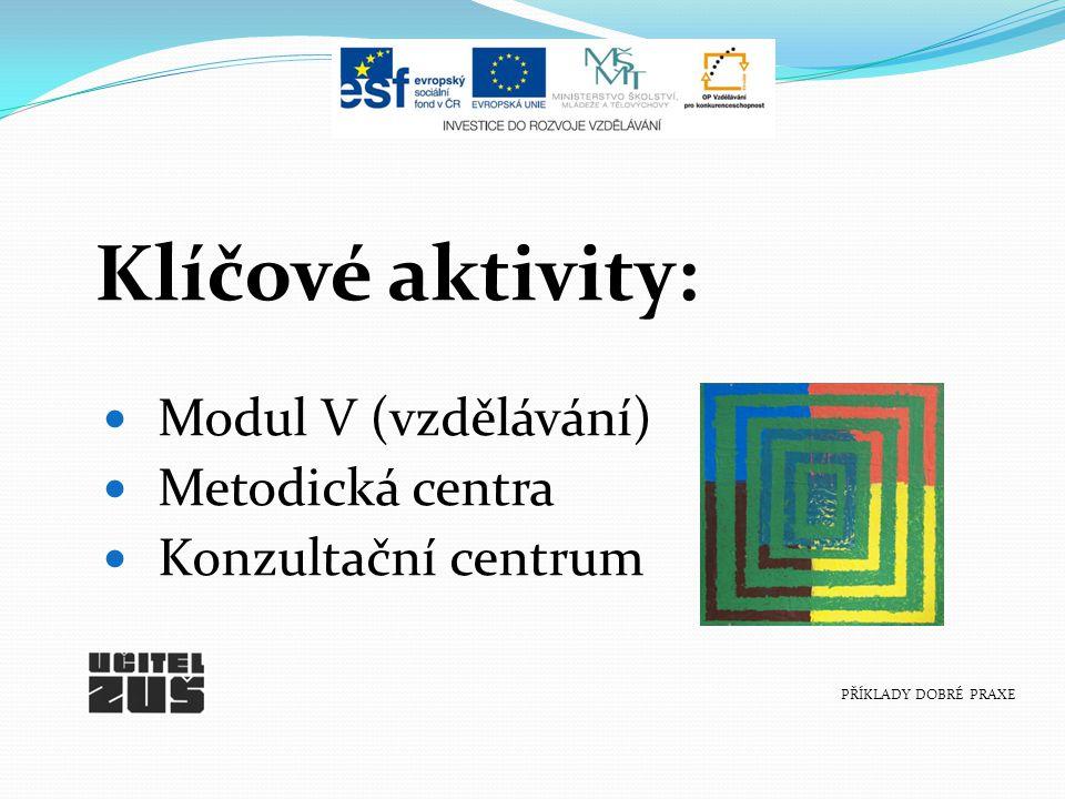 Klíčové aktivity: Modul V (vzdělávání) Metodická centra Konzultační centrum PŘÍKLADY DOBRÉ PRAXE