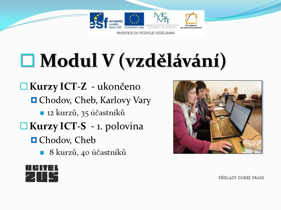  M M M Modul V (vzdělávání) KKurzy ICT-Z - ukončeno CChodov, Cheb, Karlovy Vary 12 kurzů, 35 účastníků KKurzy ICT-S - 1.