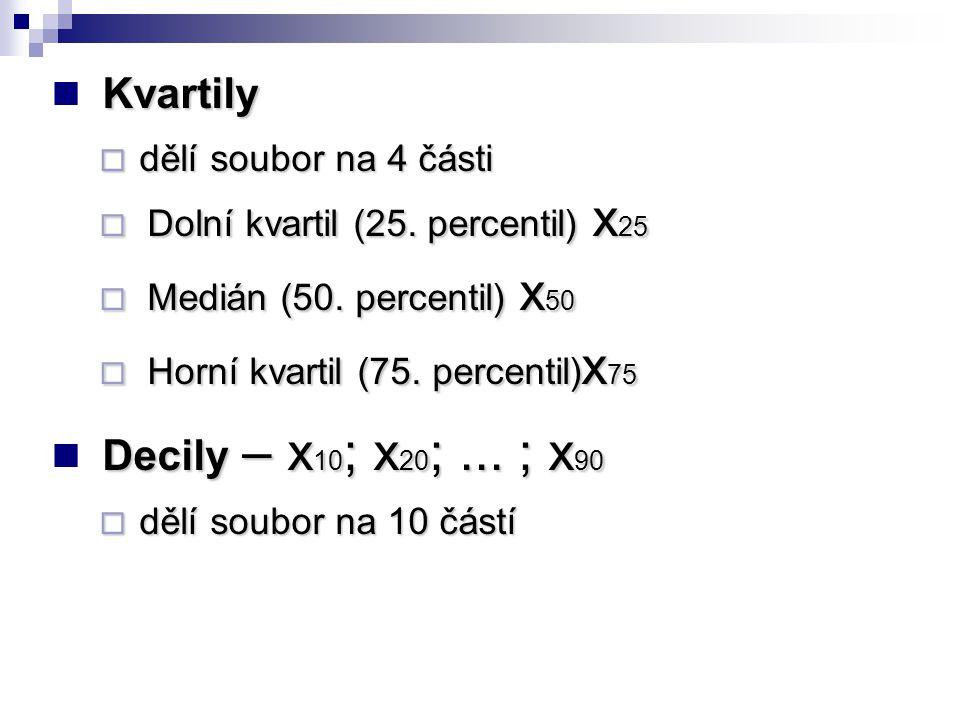 Kvartily  dělí soubor na 4 části  Dolní kvartil (25. percentil) x 25  Medián (50. percentil) x 50  Horní kvartil (75. percentil) x 75 Decily – x 1