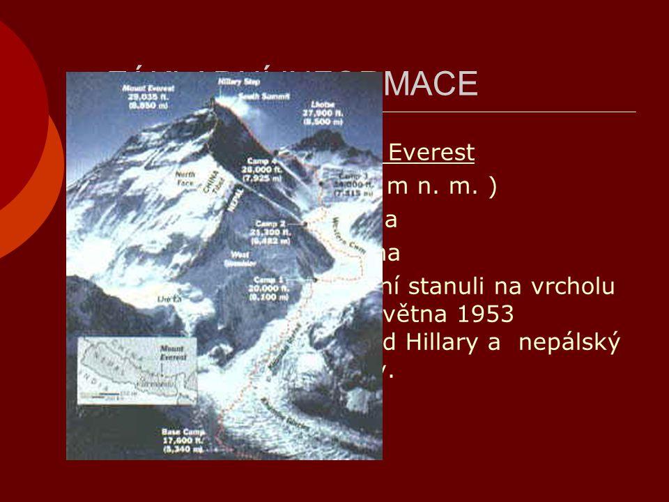 ZÁKLADNÍ INFORMACE  Nejvyšší bod: Mount Everest  (8 844,43 m n. m. )  Nepálsky: Sagarmátha  Tibetsky: Čomolungma  Prvovýstup: Jako první stanuli