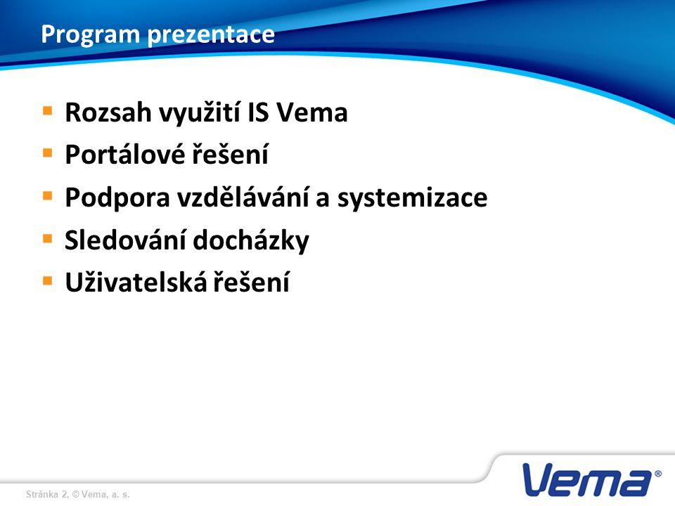 Stránka 2, © Vema, a. s. Program prezentace  Rozsah využití IS Vema  Portálové řešení  Podpora vzdělávání a systemizace  Sledování docházky  Uživ