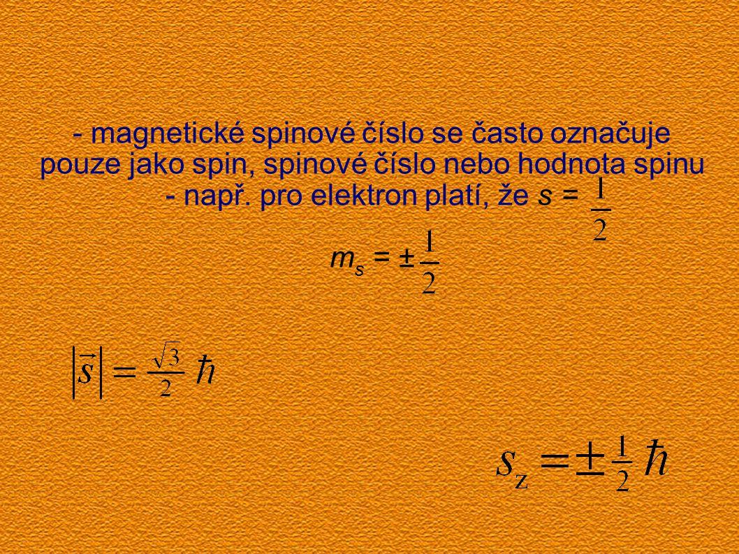 - magnetické spinové číslo se často označuje pouze jako spin, spinové číslo nebo hodnota spinu - např. pro elektron platí, že s = m s = ±