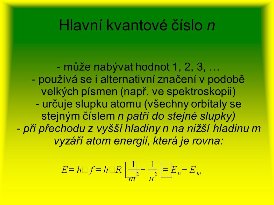 Hlavní kvantové číslo n - může nabývat hodnot 1, 2, 3, … - používá se i alternativní značení v podobě velkých písmen (např. ve spektroskopii) - určuje