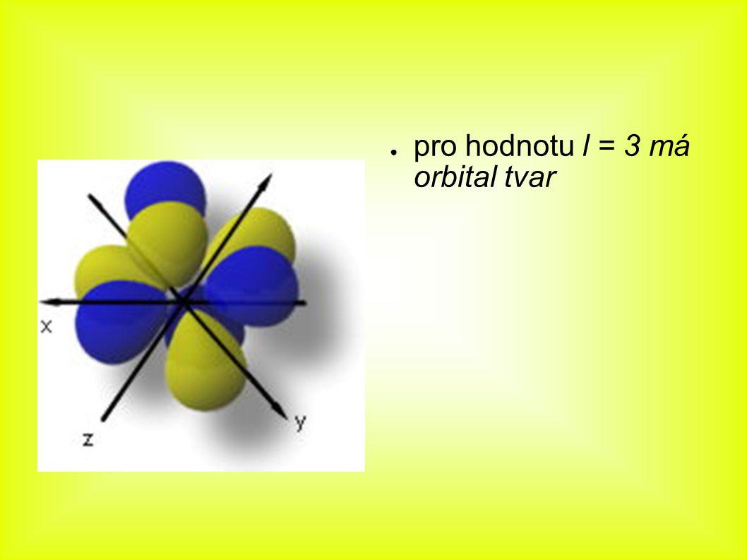 ● pro hodnotu l = 3 má orbital tvar