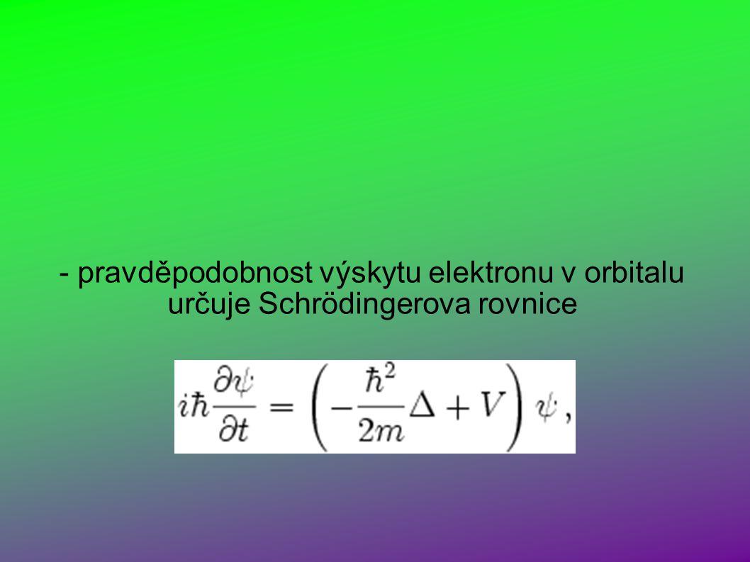 - pravděpodobnost výskytu elektronu v orbitalu určuje Schrödingerova rovnice