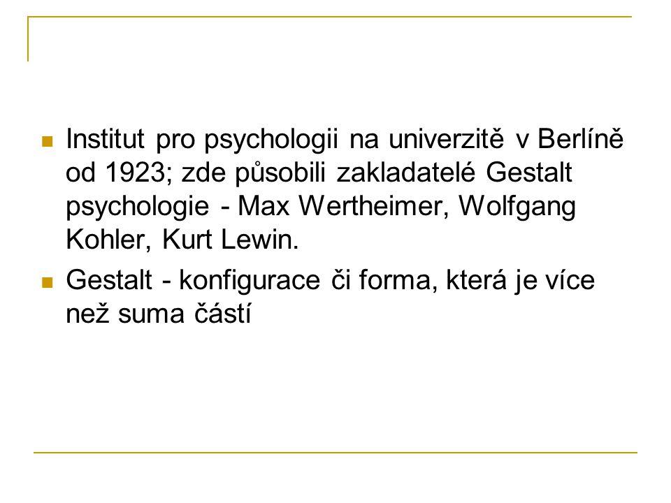 Institut pro psychologii na univerzitě v Berlíně od 1923; zde působili zakladatelé Gestalt psychologie - Max Wertheimer, Wolfgang Kohler, Kurt Lewin.