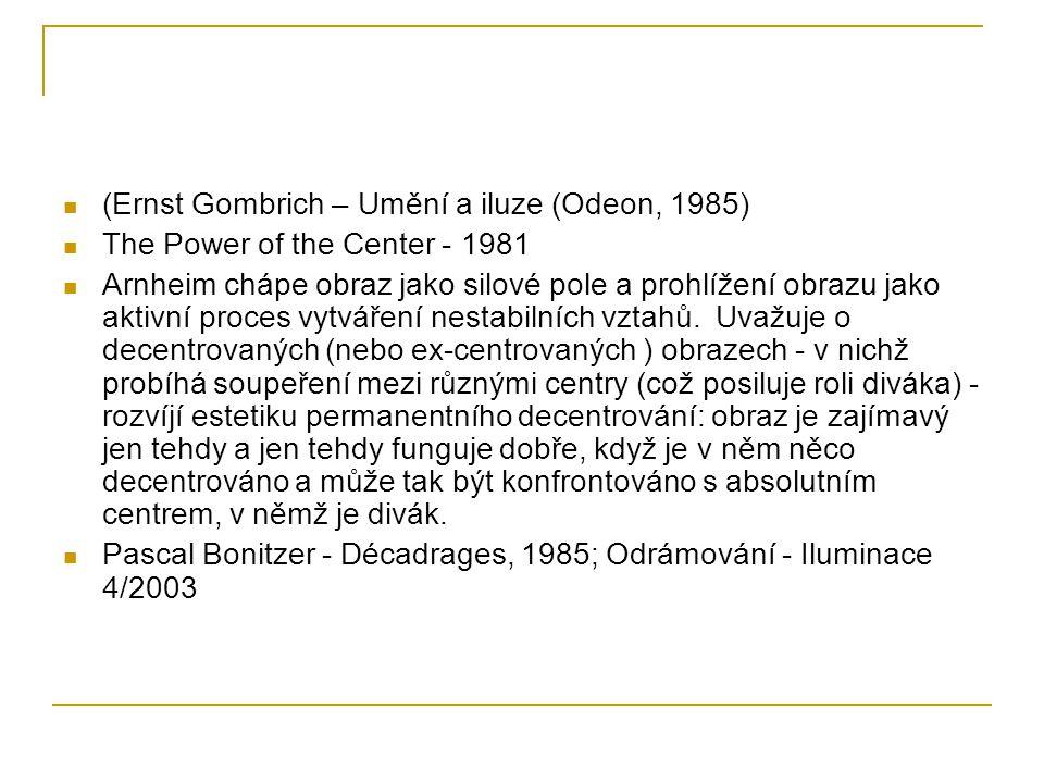 (Ernst Gombrich – Umění a iluze (Odeon, 1985) The Power of the Center - 1981 Arnheim chápe obraz jako silové pole a prohlížení obrazu jako aktivní proces vytváření nestabilních vztahů.