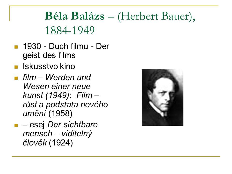Béla Balázs – (Herbert Bauer), 1884-1949 1930 - Duch filmu - Der geist des films Iskusstvo kino film – Werden und Wesen einer neue kunst (1949): Film – růst a podstata nového umění (1958) – esej Der sichtbare mensch – viditelný člověk (1924)