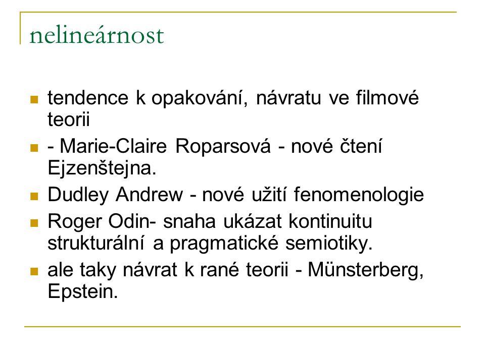 nelineárnost tendence k opakování, návratu ve filmové teorii - Marie-Claire Roparsová - nové čtení Ejzenštejna.