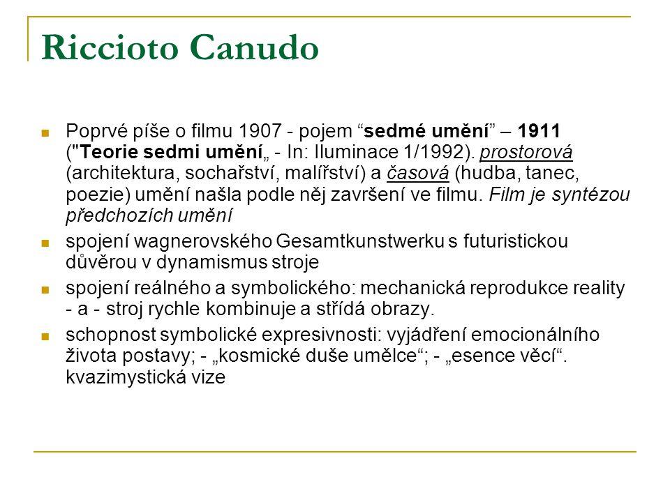 """Riccioto Canudo Poprvé píše o filmu 1907 - pojem sedmé umění – 1911 ( Teorie sedmi umění"""" - In: Iluminace 1/1992)."""