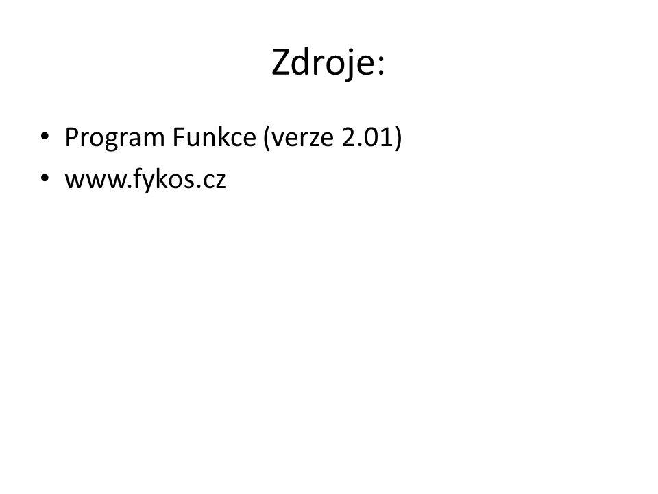 Zdroje: Program Funkce (verze 2.01) www.fykos.cz