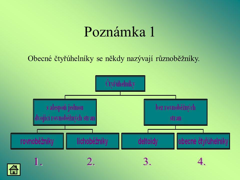Poznámka 1 Obecné čtyřúhelníky se někdy nazývají různoběžníky.