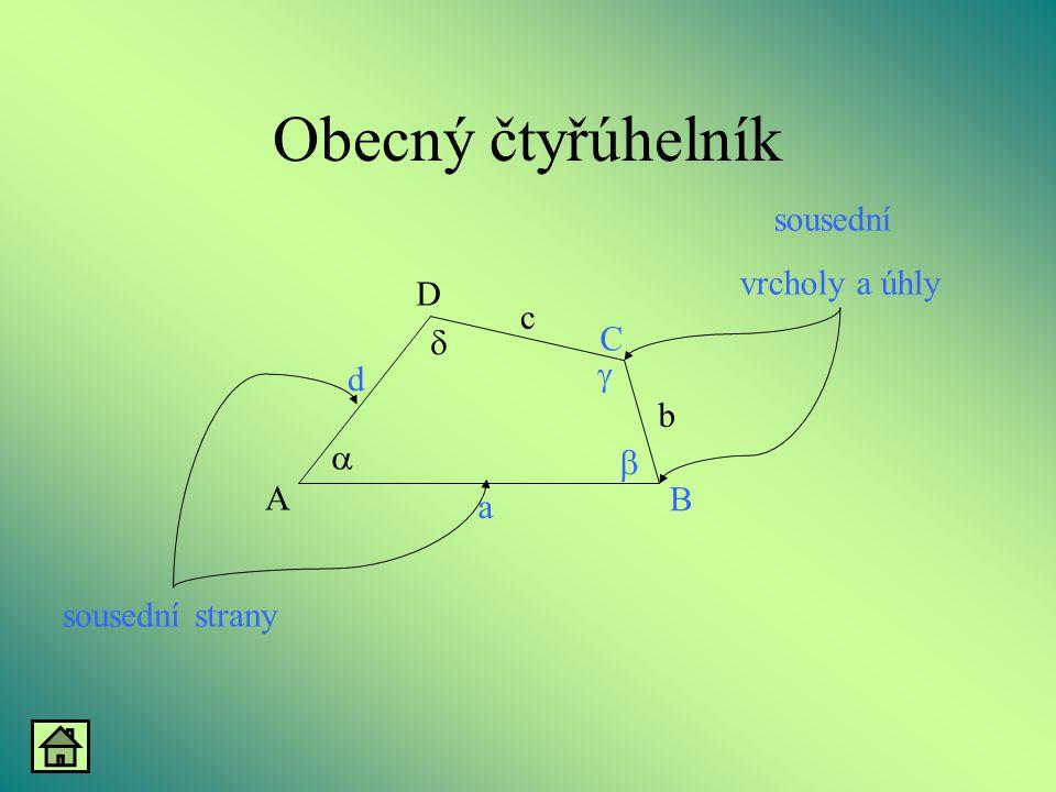 Obecný čtyřúhelník     A B D C d c b a sousední vrcholy a úhly sousední strany