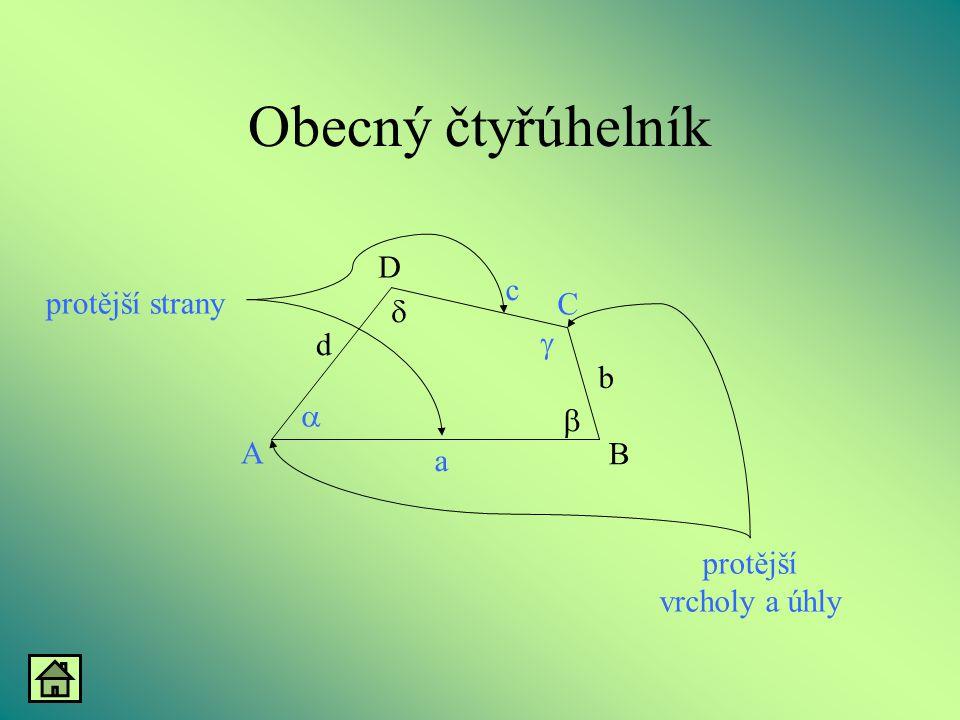 Rovnoramenný lichoběžník v - výška  =  b = d Ramena: - jsou shodné úsečky  =  v B A D C d a b c     Osa souměrnosti: - rozděluje rovnoramenný lichoběžník na dva shodné pravoúhlé lichoběžníky  o - osa souměrnosti