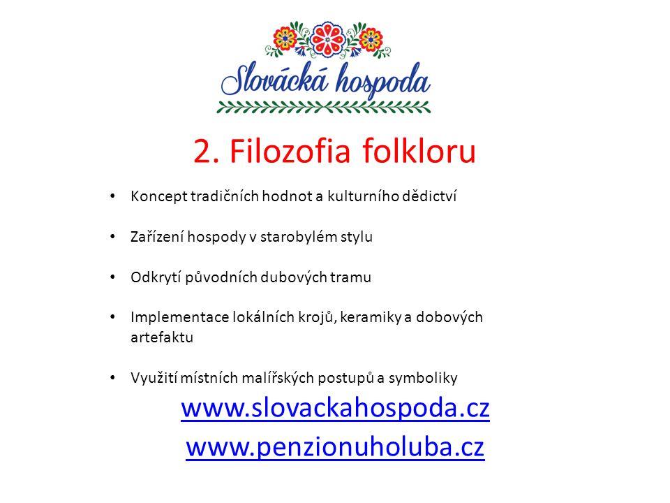 2. Filozofia folkloru www.slovackahospoda.cz www.penzionuholuba.cz Koncept tradičních hodnot a kulturního dědictví Zařízení hospody v starobylém stylu