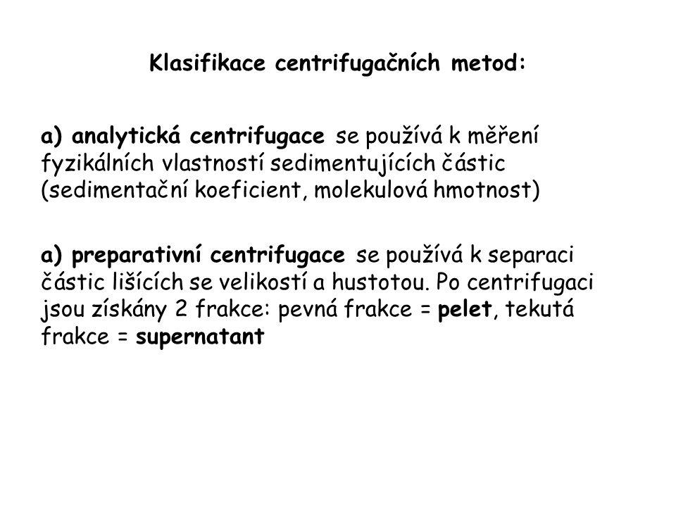 Klasifikace centrifugačních metod: a) analytická centrifugace se používá k měření fyzikálních vlastností sedimentujících částic (sedimentační koeficient, molekulová hmotnost) a) preparativní centrifugace se používá k separaci částic lišících se velikostí a hustotou.