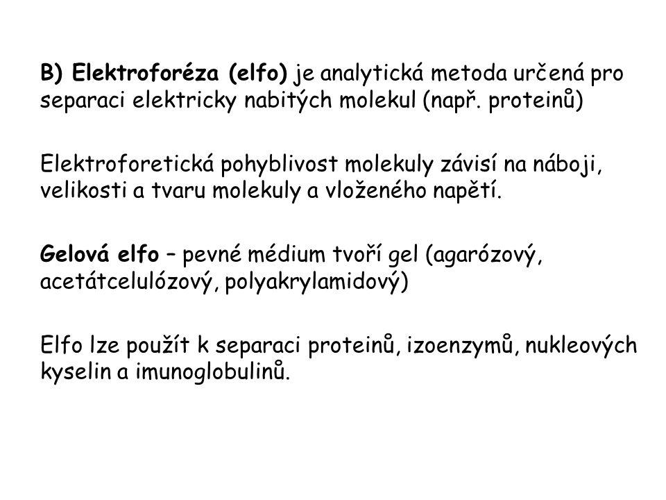 B) Elektroforéza (elfo) je analytická metoda určená pro separaci elektricky nabitých molekul (např.