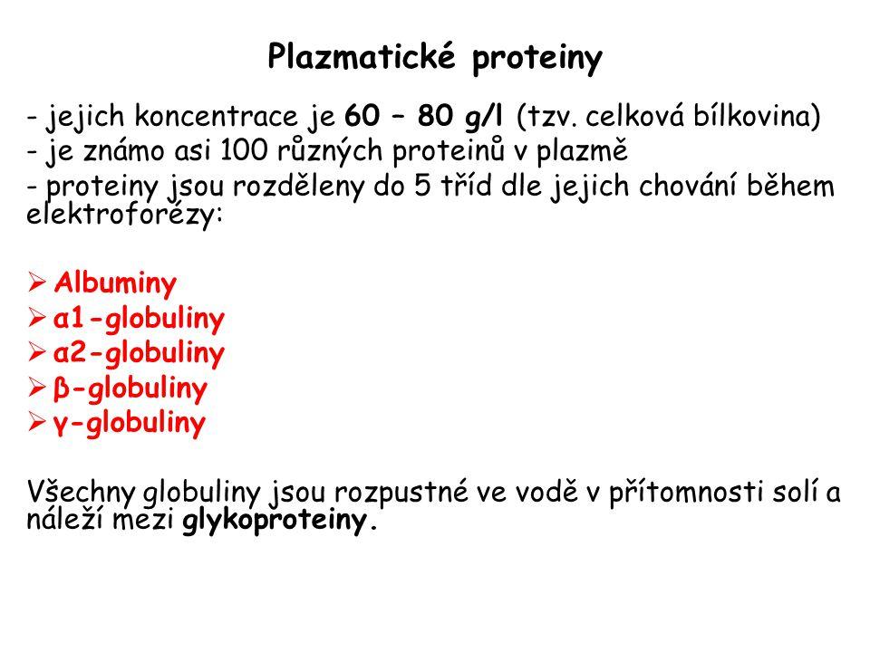 Plazmatické proteiny - jejich koncentrace je 60 – 80 g/l (tzv.