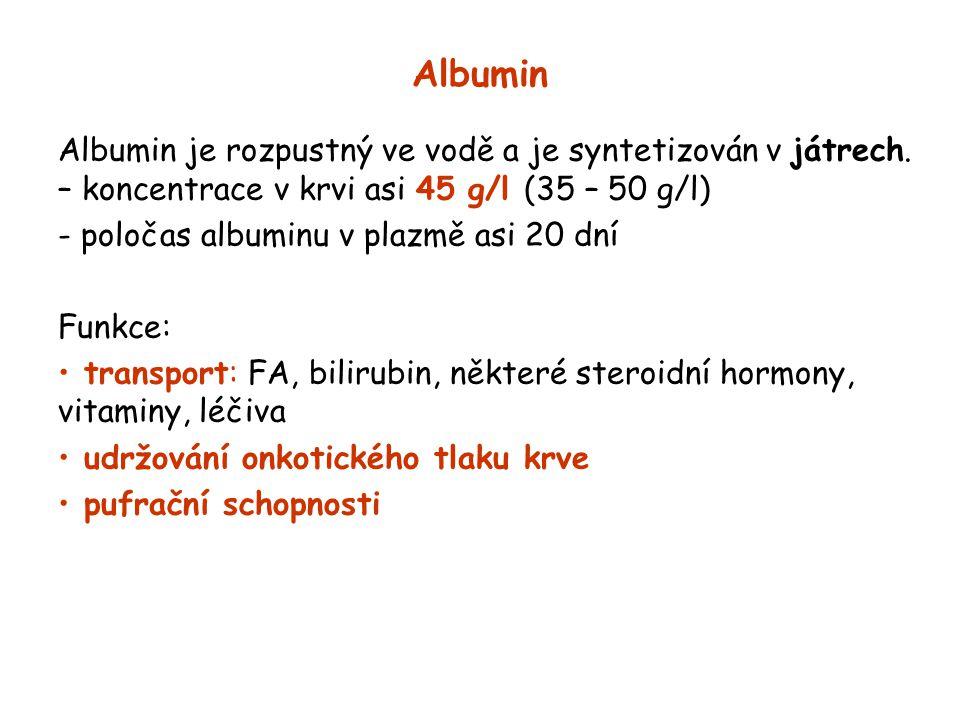 Albumin Albumin je rozpustný ve vodě a je syntetizován v játrech.
