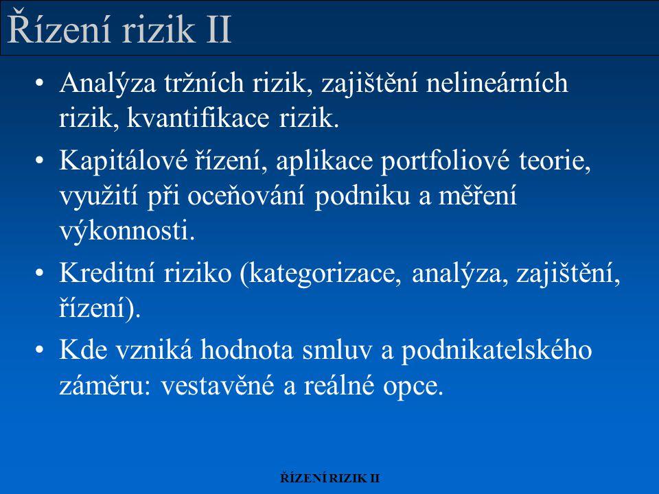 ŘÍZENÍ RIZIK II Vestavěné a reálné opce Vestavěné opce jsou součástí finančního nebo jiného kontraktu (= práva); reálné opce se objevují v rámci podnikání (= příležitosti).
