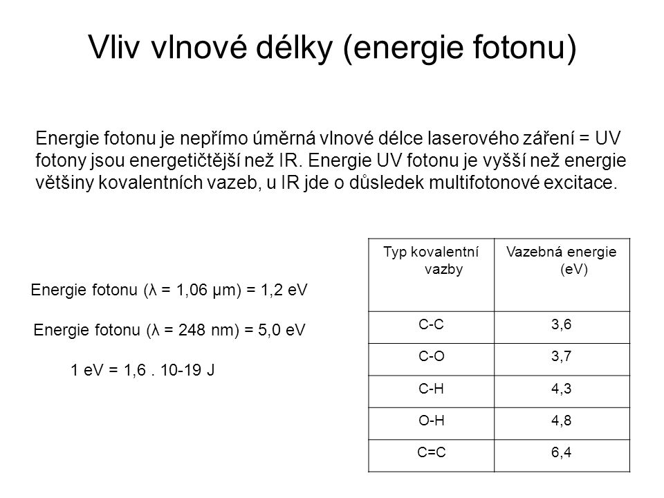 Vliv vlnové délky (energie fotonu) Typ kovalentní vazby Vazebná energie (eV) C-C3,6 C-O3,7 C-H4,3 O-H4,8 C=C6,4 Energie fotonu je nepřímo úměrná vlnové délce laserového záření = UV fotony jsou energetičtější než IR.
