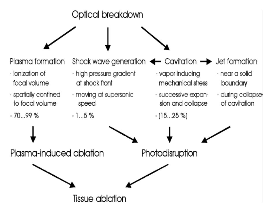 Přibližná doba trvání procesů přispívajících k fotodisrupci. Předpokládá se 30 ps laserový puls.